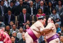 Sumo wrestlers meet match in larger-than-life Trump